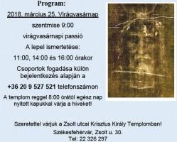 Torinói lepel másolata a Krisztus Király templomban
