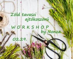 Zöld tavaszi ajtókoszorú workshop