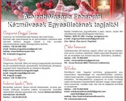 Adventi vásár  a Fehérvári Kézművesek Egyesületének tagjaitól