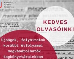 Folyóirat kiárusítás a Vörösmarty Mihály Könyvtár Tagkönyvtáraiban