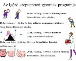 Szeptemberi gyermek programok
