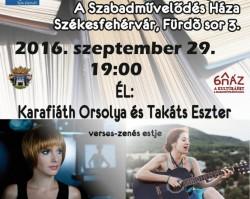 Karafiáth Orsolya és Takáts Eszter verses-zenés estje