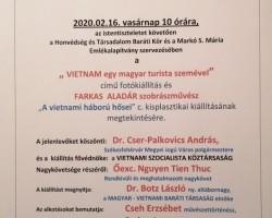 """""""VIETNAM egy magyar turista szemével"""" című fotókiállítás és FARKAS  ALADÁR szobrászművész """"A vietnami háború hősei"""" c. kisplasztikai kiállításának megnyitója"""